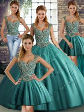 Teal Straps Lace Up Beading and Appliques Sweet 16 Quinceanera Dress Sleeveless