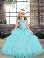 Hot Selling Aqua Blue Tulle Lace Up Scoop Sleeveless Floor Length Kids Pageant Dress Beading and Lace and Appliques