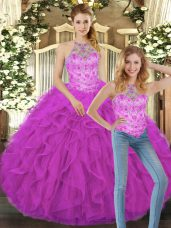 Beautiful Sleeveless Tulle Floor Length Lace Up Quinceanera Dress in Fuchsia with Beading and Ruffles