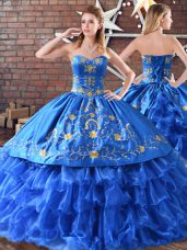 Sleeveless Floor Length Embroidery Quinceanera Dress