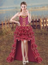 Burgundy Organza Lace Up Sweetheart Sleeveless High Low Pageant Dress for Womens Embroidery and Ruffles