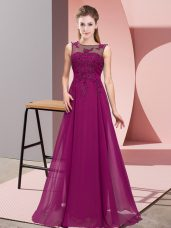 Beautiful Scoop Sleeveless Zipper Bridesmaid Gown Purple Chiffon