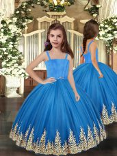 Baby Blue Sleeveless Floor Length Embroidery Lace Up Little Girl Pageant Gowns
