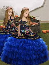 Royal Blue Ball Gowns Straps Sleeveless Organza Floor Length Lace Up Embroidery Glitz Pageant Dress