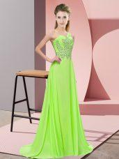 Stunning Empire Prom Dresses One Shoulder Chiffon Sleeveless Floor Length Side Zipper