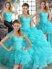 Aqua Blue Lace Up Off The Shoulder Beading and Ruffles and Pick Ups Sweet 16 Quinceanera Dress Organza Sleeveless