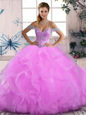 Best Floor Length Lilac Quinceanera Gown Tulle Sleeveless Beading and Ruffles