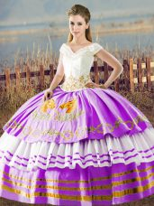 Lilac V-neck Neckline Embroidery and Ruffled Layers Ball Gown Prom Dress Sleeveless Lace Up