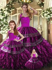 Fuchsia Halter Top Lace Up Embroidery and Ruffles 15th Birthday Dress Sleeveless