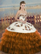 Brown Lace Up Sweetheart Embroidery and Ruffled Layers and Bowknot 15 Quinceanera Dress Organza Sleeveless