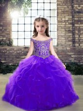 Admirable Off The Shoulder Sleeveless Tulle Pageant Dress for Teens Beading and Ruffles Lace Up