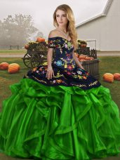 Flare Green Sleeveless Floor Length Embroidery and Ruffles Lace Up Quinceanera Dresses