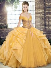 Glamorous Gold Ball Gowns Beading and Ruffles Quinceanera Dress Lace Up Organza Sleeveless Floor Length