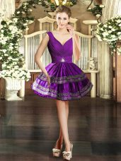 Chic Taffeta V-neck Sleeveless Backless Embroidery Homecoming Dress in Purple
