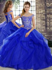 Perfect Tulle Off The Shoulder Sleeveless Brush Train Lace Up Beading and Ruffles Ball Gown Prom Dress in Royal Blue