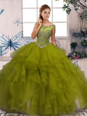 Olive Green Sweet 16 Dress Military Ball and Sweet 16 and Quinceanera with Beading and Ruffles Scoop Sleeveless Zipper