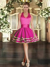 Dramatic Ball Gowns Cocktail Dress Fuchsia Halter Top Tulle Sleeveless Mini Length Lace Up