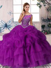 Custom Designed Purple Ball Gowns Organza Scoop Sleeveless Beading and Pick Ups Zipper 15 Quinceanera Dress Brush Train