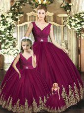 Floor Length Ball Gowns Sleeveless Burgundy Quince Ball Gowns Backless