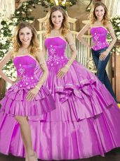 Affordable Floor Length Lilac Quinceanera Gown Strapless Sleeveless Lace Up