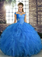 Dynamic Blue Off The Shoulder Neckline Beading and Ruffles Quince Ball Gowns Sleeveless Lace Up