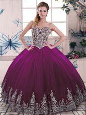 Beauteous Floor Length Ball Gowns Sleeveless Fuchsia Ball Gown Prom Dress Lace Up