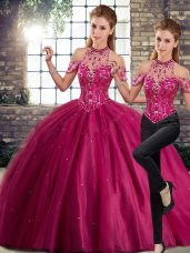 Nice Sleeveless Tulle Brush Train Lace Up Quinceanera Dress in Fuchsia with Beading