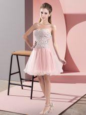 Fashionable Mini Length Pink Evening Dress Sweetheart Sleeveless Zipper