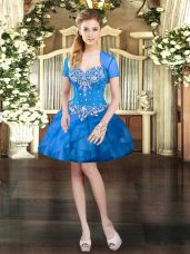 Extravagant Mini Length Blue Tulle Sleeveless Beading and Ruffles