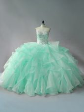 Apple Green Sleeveless Organza Court Train Lace Up Quinceanera Dress for Sweet 16 and Quinceanera