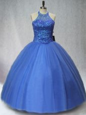 Charming Floor Length Lace Up Ball Gown Prom Dress Blue for Sweet 16 and Quinceanera with Beading