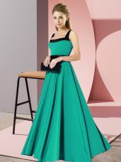 Turquoise Sleeveless Belt Floor Length Quinceanera Dama Dress