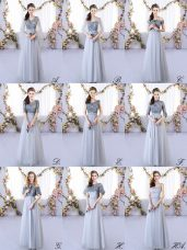 Decent Grey Empire Appliques Quinceanera Court Dresses Lace Up Tulle Sleeveless Floor Length