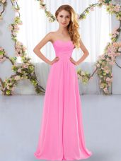 Flirting Rose Pink Empire Ruching Quinceanera Court of Honor Dress Lace Up Chiffon Sleeveless Floor Length