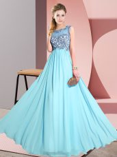 Aqua Blue Backless Vestidos de Damas Beading and Appliques Sleeveless Floor Length