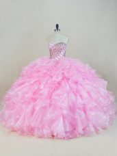 Beading and Ruffles Sweet 16 Quinceanera Dress Baby Pink Lace Up Sleeveless Floor Length
