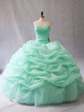 On Sale Apple Green Sleeveless Beading and Pick Ups Floor Length 15 Quinceanera Dress