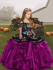 Fuchsia Organza Lace Up Girls Pageant Dresses Sleeveless Floor Length Embroidery and Ruffles