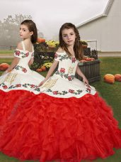 Exquisite Red Lace Up Little Girls Pageant Dress Wholesale Embroidery and Ruffles Sleeveless Floor Length