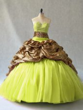 Most Popular V-neck Sleeveless Quinceanera Gown Brush Train Beading Yellow Green Organza and Printed