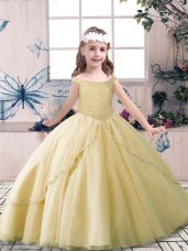 Champagne Ball Gowns Beading Child Pageant Dress Lace Up Tulle Sleeveless Floor Length