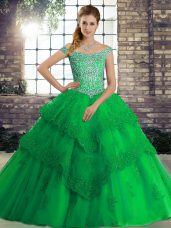 Decent Green Lace Up Off The Shoulder Beading and Lace Ball Gown Prom Dress Tulle Sleeveless Brush Train