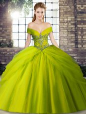 Tulle Sleeveless Sweet 16 Dresses Brush Train and Beading and Pick Ups