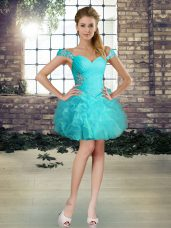 Aqua Blue Sleeveless Organza Lace Up Prom Party Dress for Prom and Party