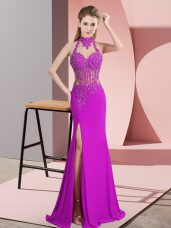 Fuchsia Chiffon Backless Prom Dresses Sleeveless Floor Length Lace and Appliques