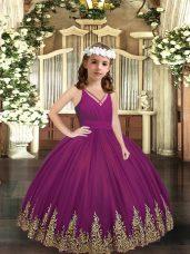 Floor Length Ball Gowns Sleeveless Purple Kids Pageant Dress Zipper