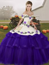 Artistic Sleeveless Tulle Brush Train Lace Up 15th Birthday Dress in Purple with Embroidery and Ruffled Layers