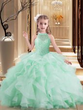 Attractive Apple Green Little Girl Pageant Dress Party and Sweet 16 and Wedding Party with Beading and Ruffles High-neck Sleeveless Lace Up
