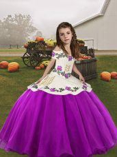 Elegant Purple Ball Gowns Organza Straps Sleeveless Embroidery Floor Length Lace Up Pageant Dress for Teens