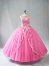 Glorious Scoop Sleeveless Quinceanera Dress Floor Length Beading and Appliques Rose Pink Tulle